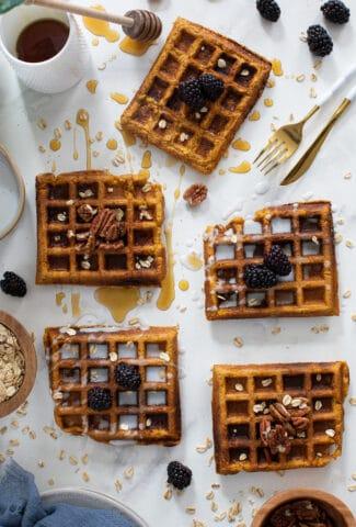 Flourless Vegan Sweet Potato Oats Waffles
