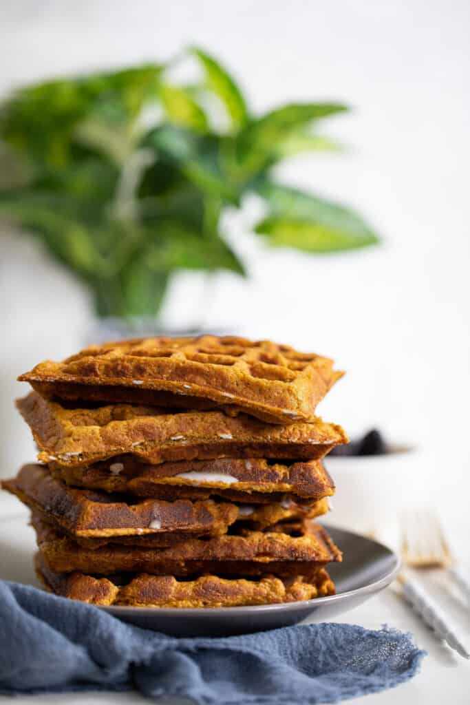Flourless Vegan Sweet Potato Oats Waffles