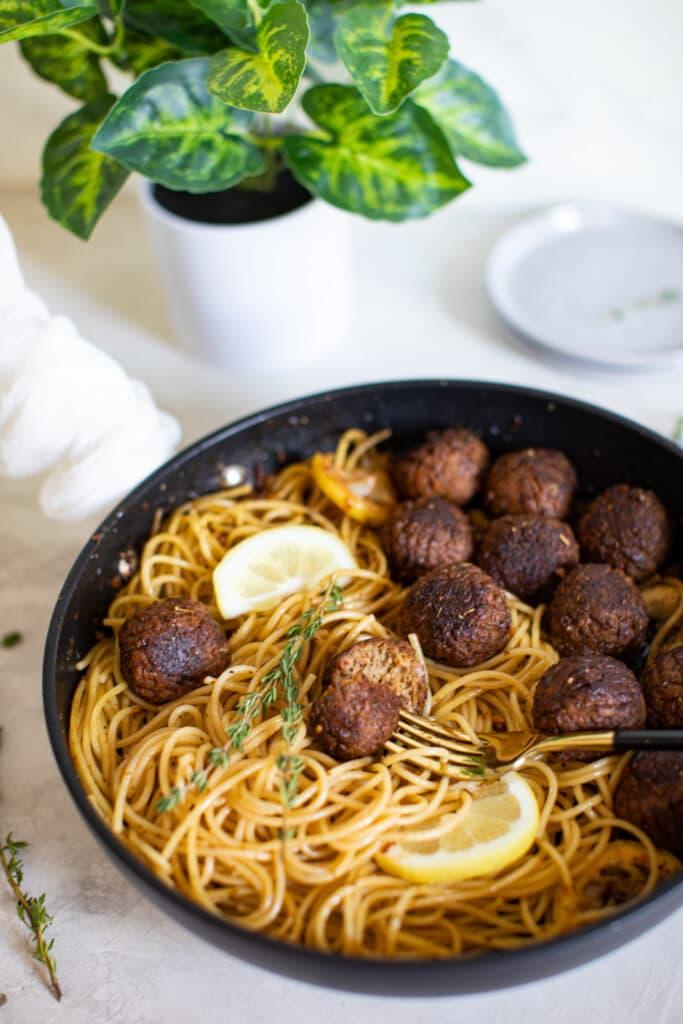 Vegan Lemon Garlic Spaghetti + Meatballs