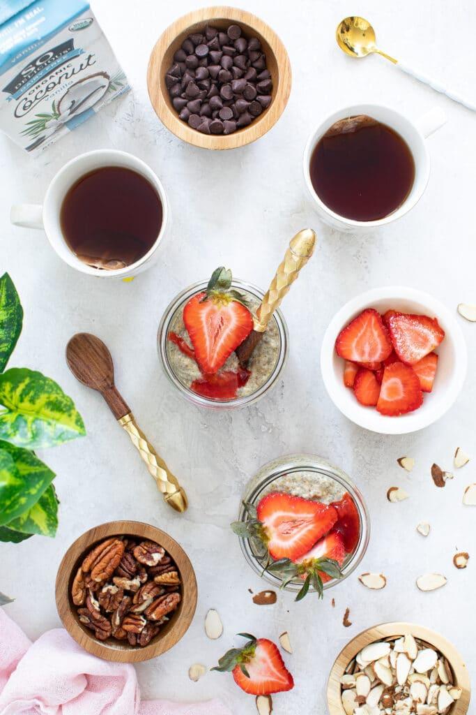 Vegan Strawberry Almond Butter Chia Pudding