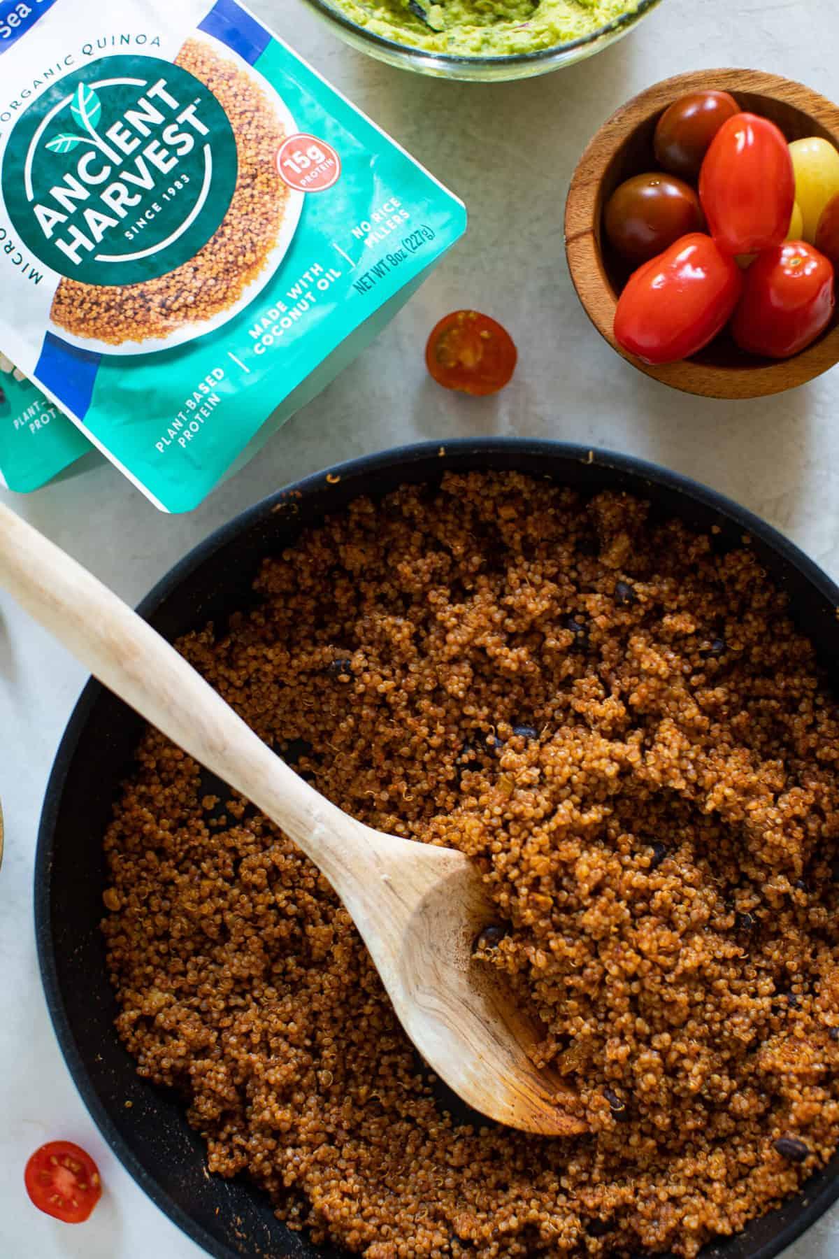 Black Bean + Quinoa Skillet Nachos