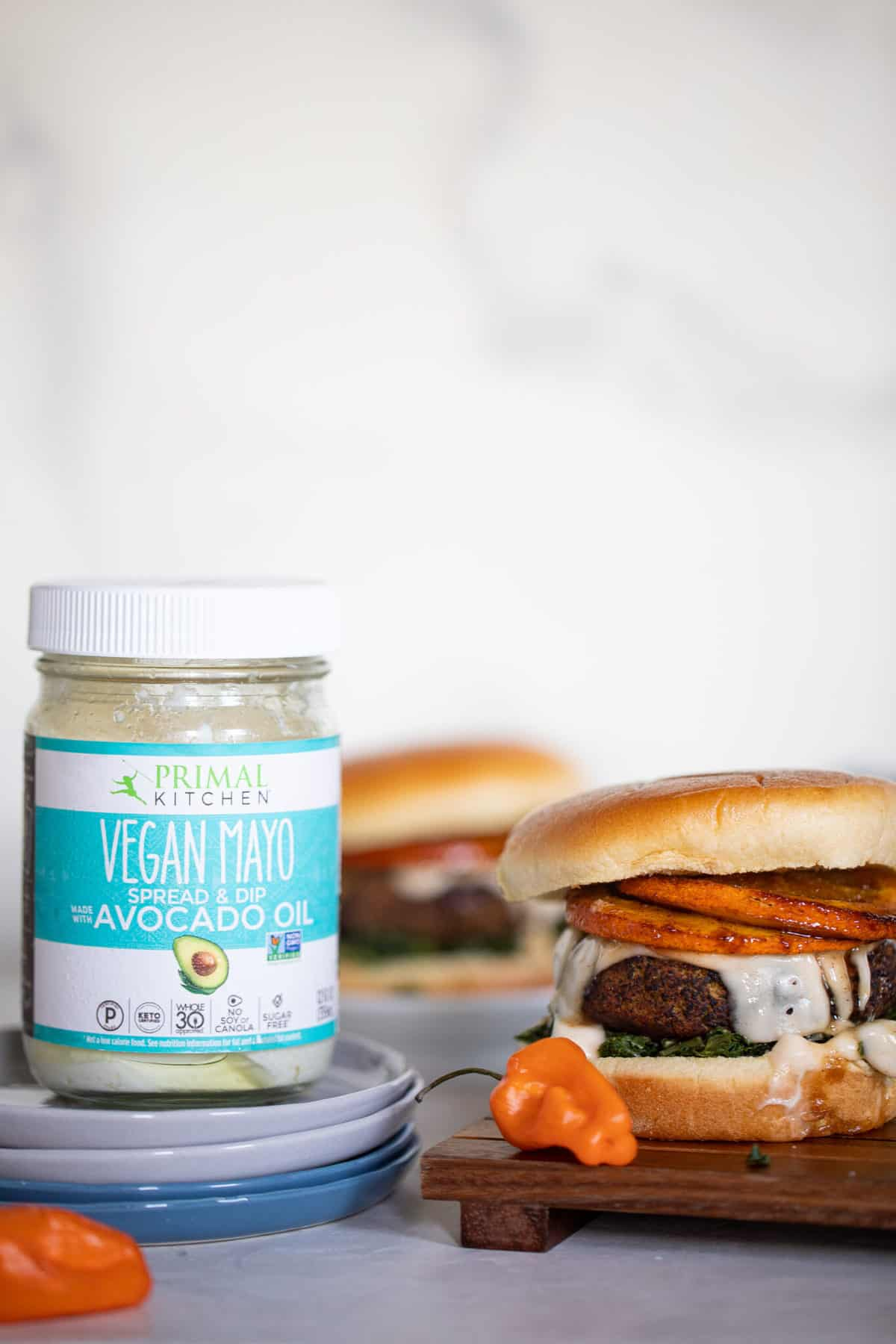 Baked Fall Harvest Black Bean Sweet Potato Burgers + Spicy Mayo
