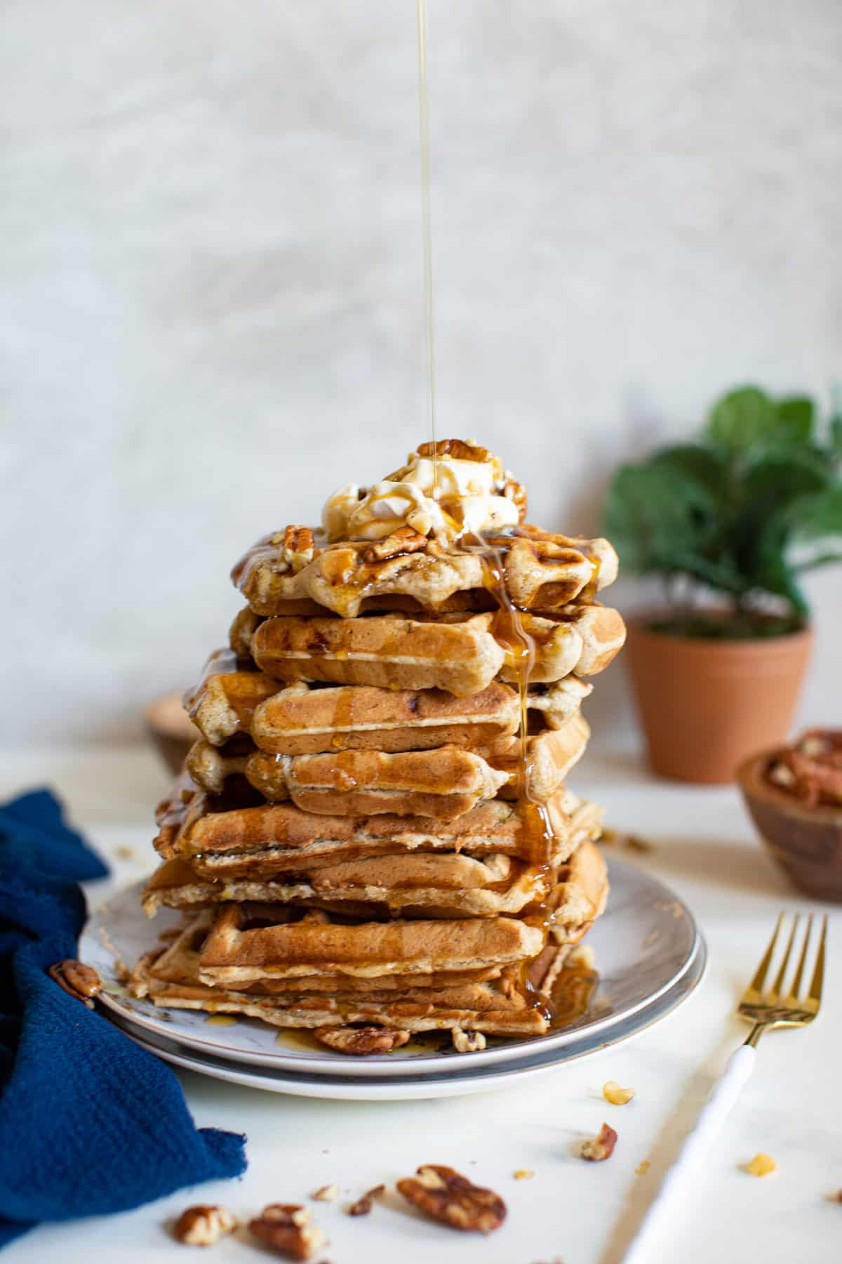 Best Maple Brown Butter Banana Waffles