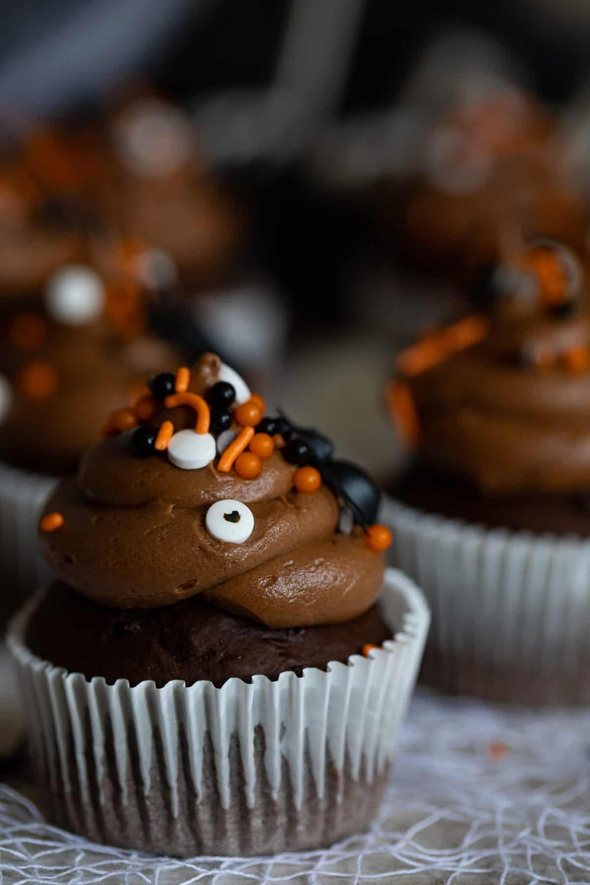Easy Spooky Double Chocolate Cupcakes