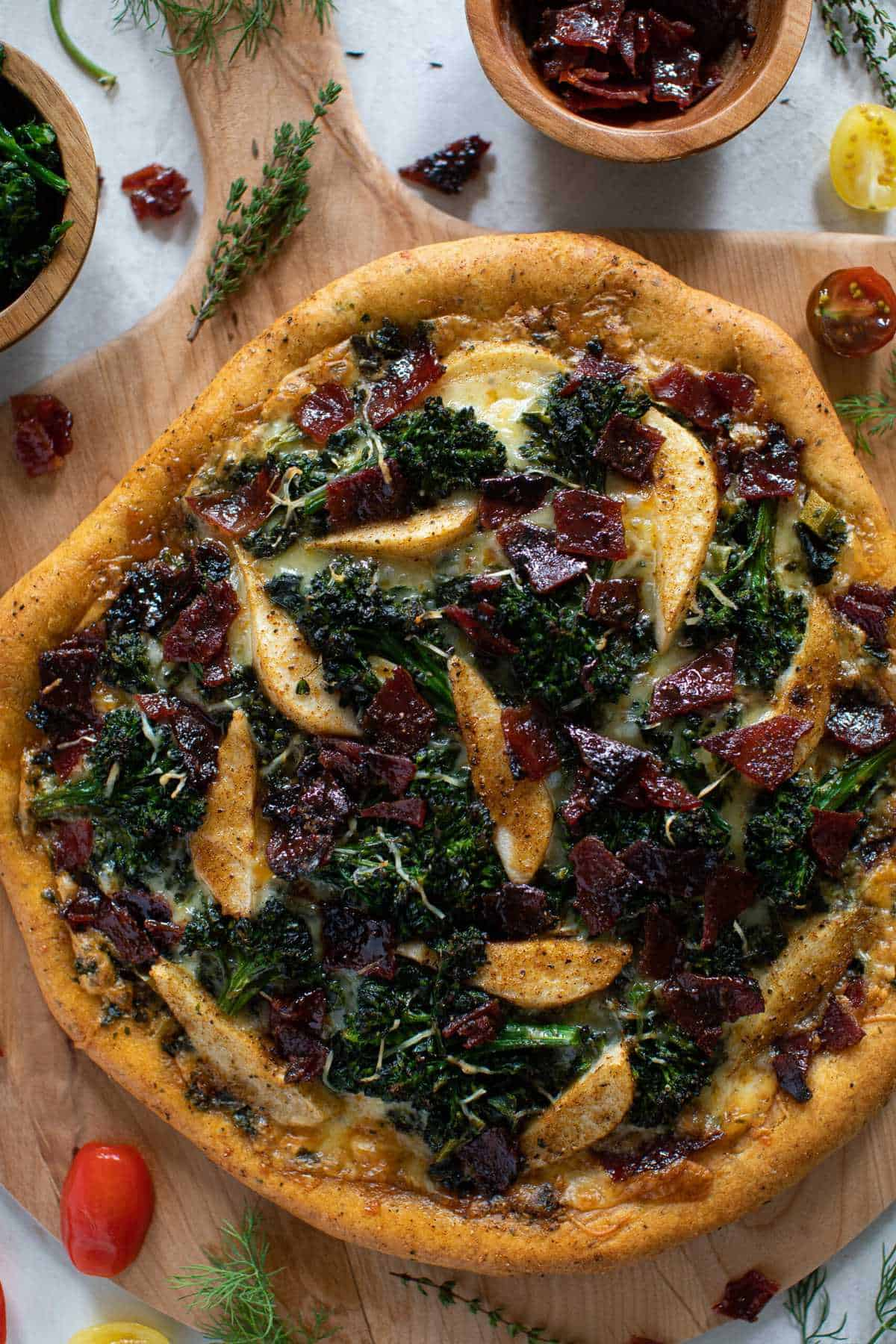 Fall Harvest Pizza: Apples, Candied Bacon, Broccolini, + Kale