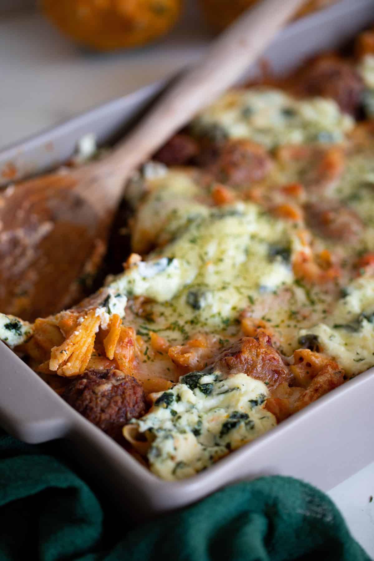 Weeknight Baked Meatball Penne Pasta Casserole [Gluten-Free]