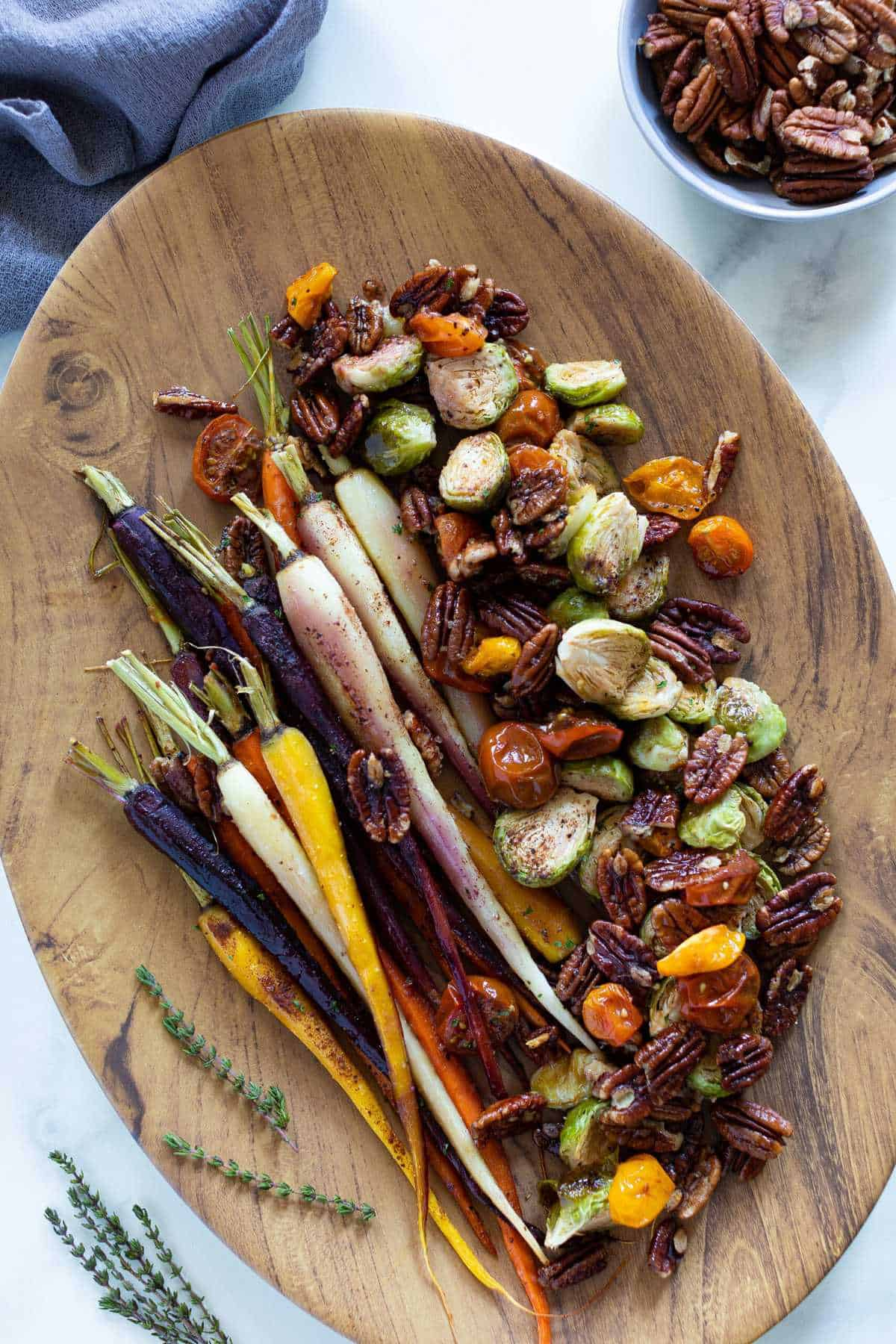 MAPLE ROASTED VEGGIES, PECANS, + RANCH SAUCE