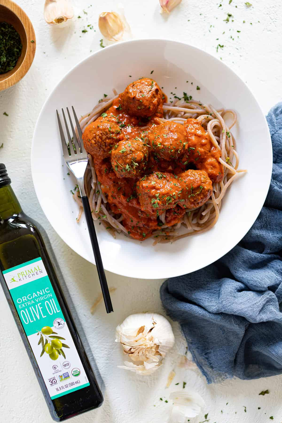 Vegan Spaghetti + Meatballs in Vodka Sauce