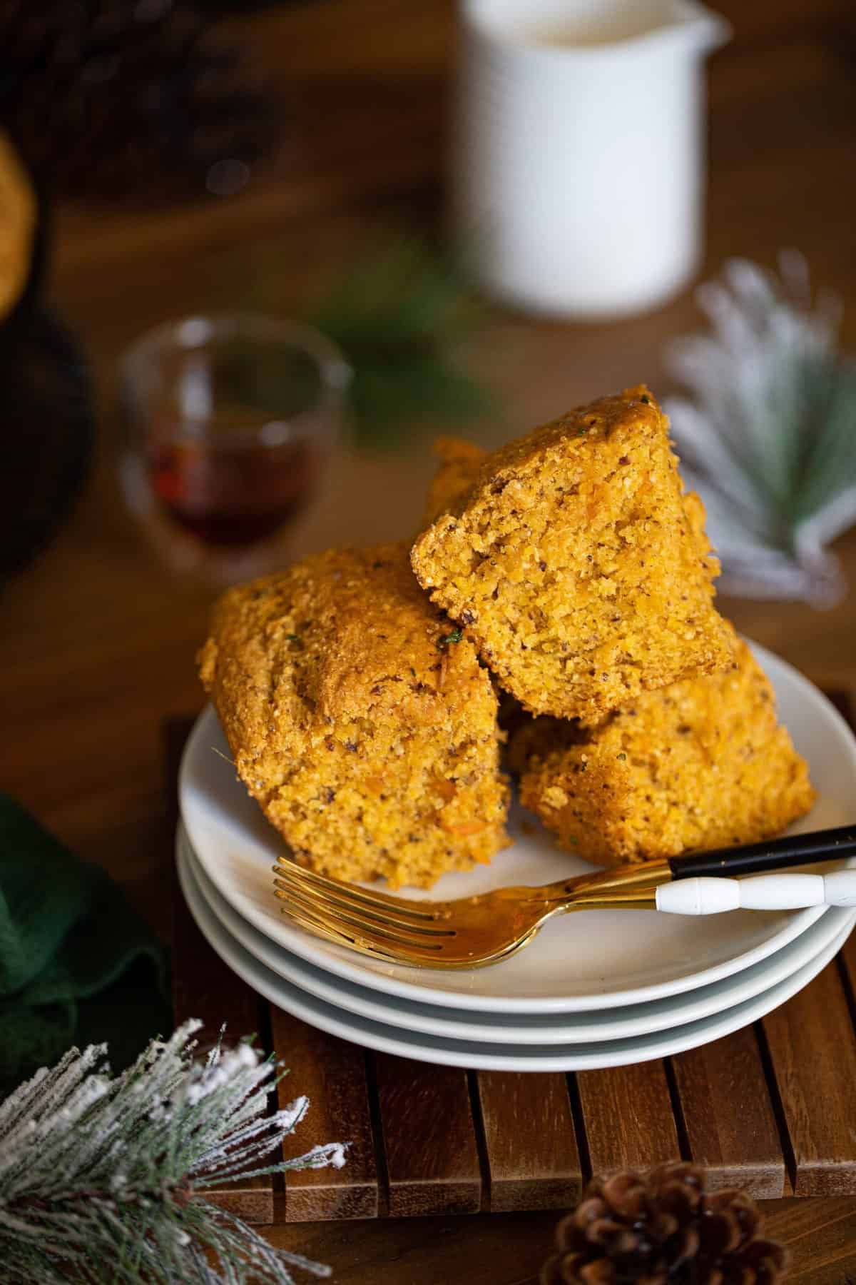 Vegan Sweet Potato Maple Herb Cornbread
