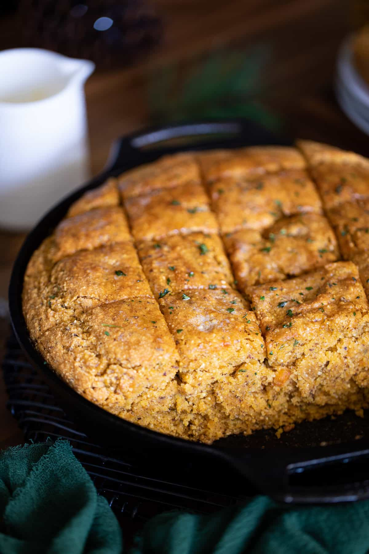 Vegan Sweet Potato Maple Herb Cornbread