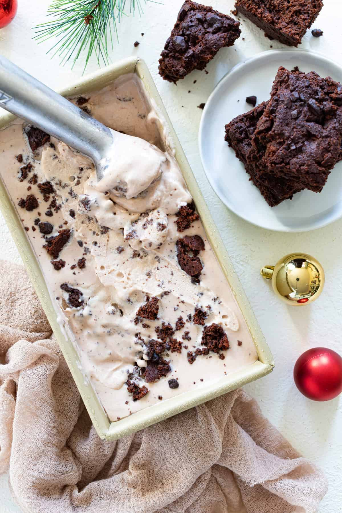 No-Churn Brownie Ice Cream