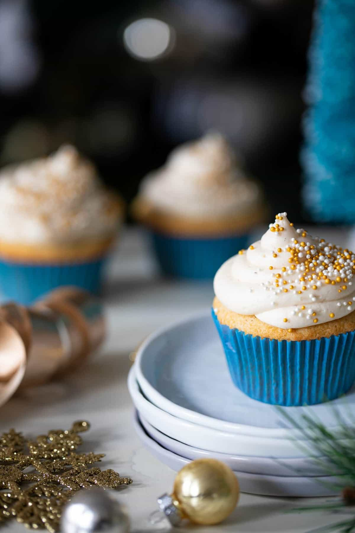 Eggnog Cupcakes + Cream Cheese Frosting