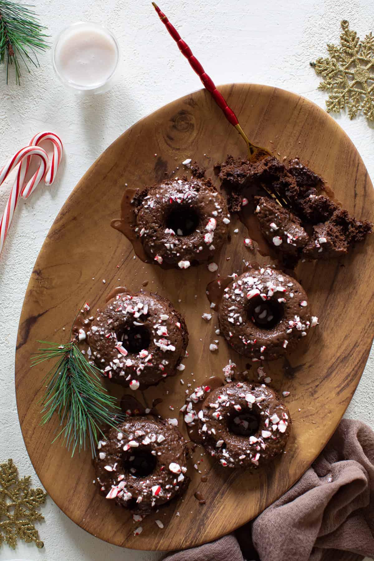 Vegan Peppermint Brownie Donuts