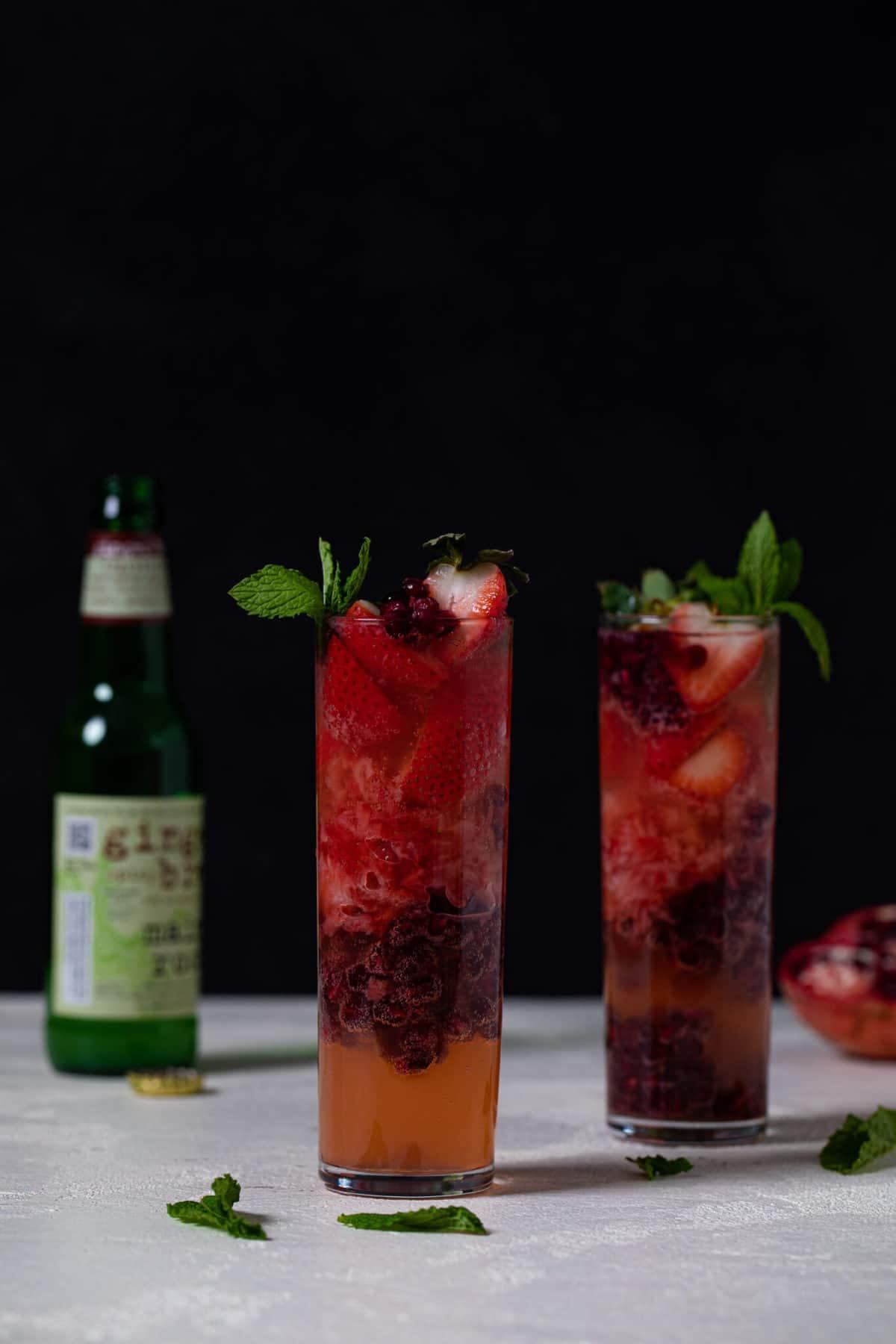 Ginger Strawberry Pomegranate Mocktail