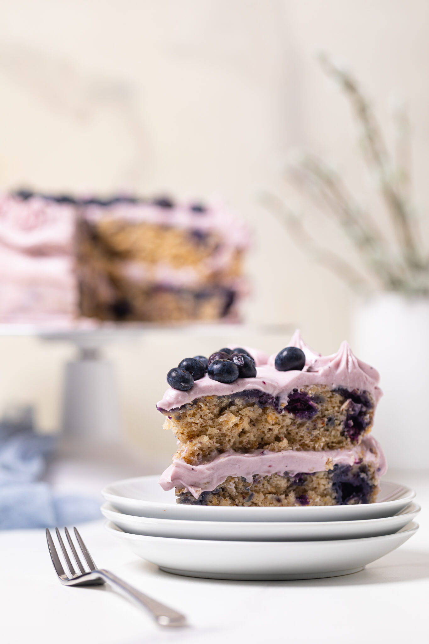 Blueberry Oatmeal Cake + Cream Cheese Frosting