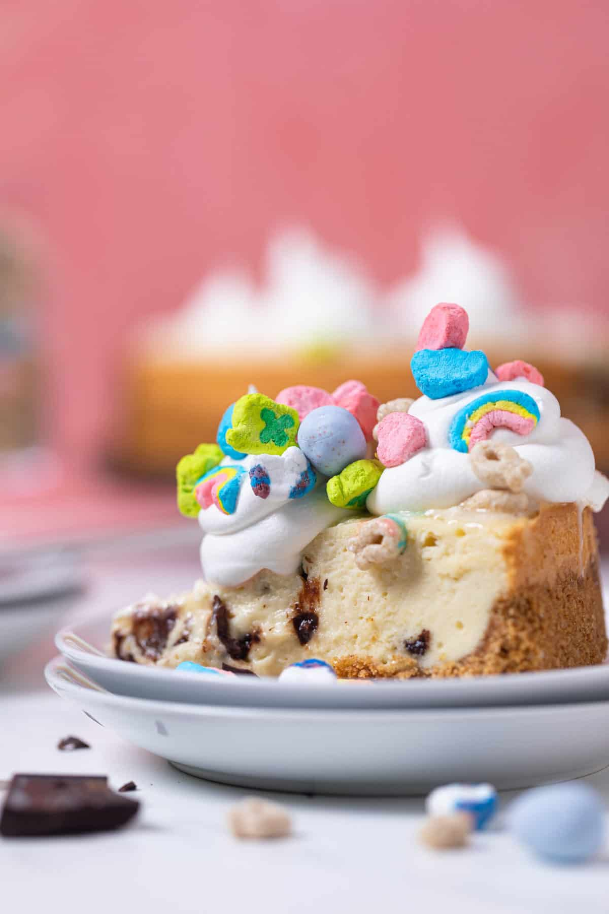 Chocolate Chip Lucky Charms Cheesecake