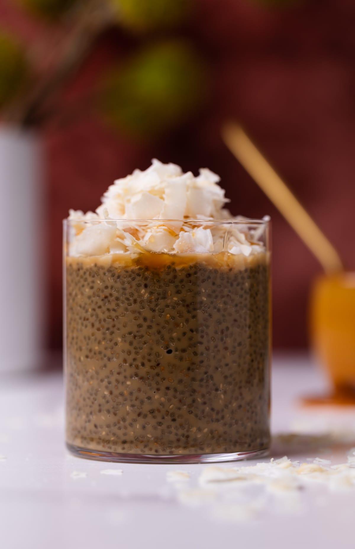 Caramel Macchiato Chia Pudding + Coconut in a glass