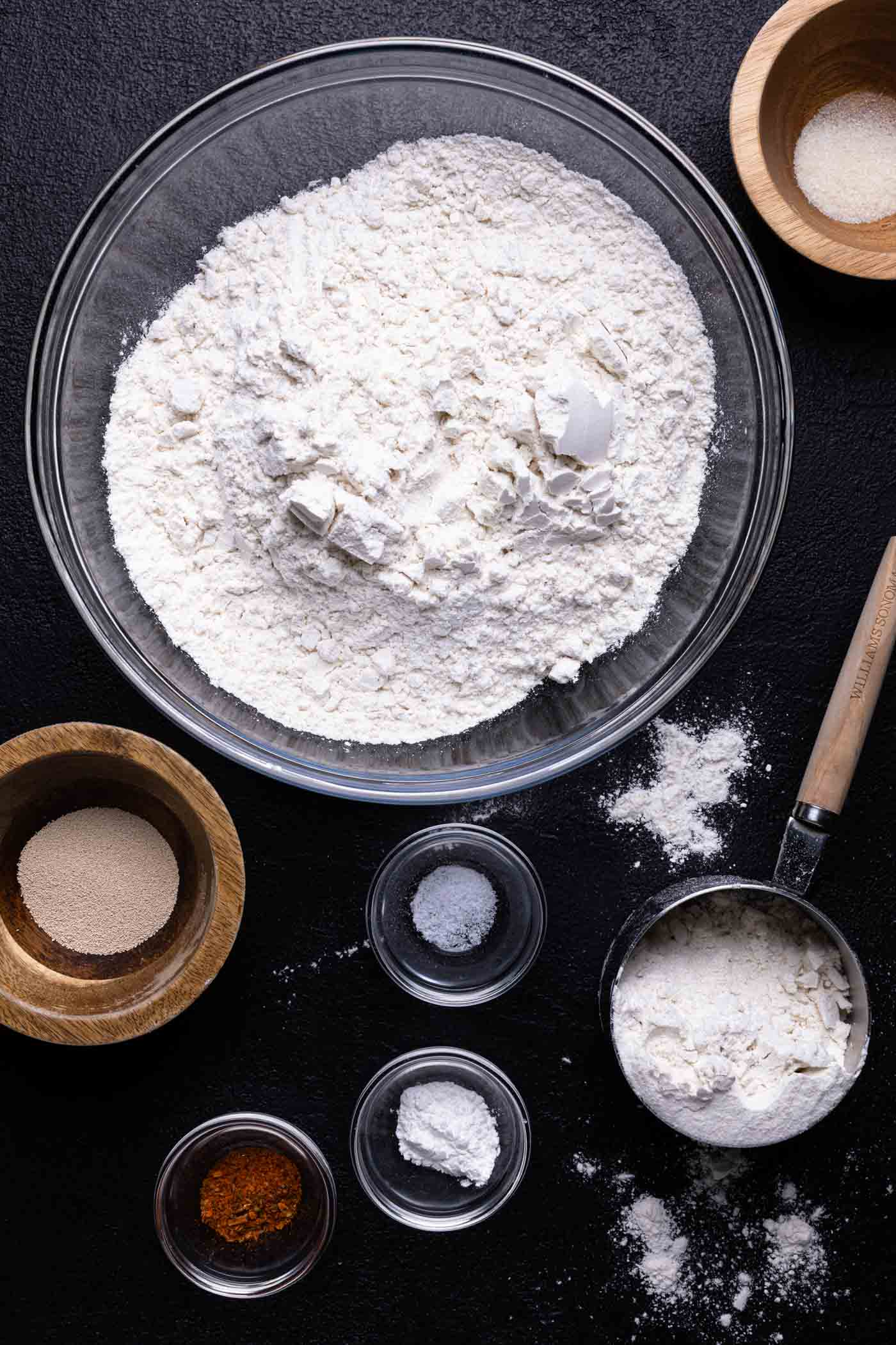 ingredients for gluten free pizza crust in small bowls