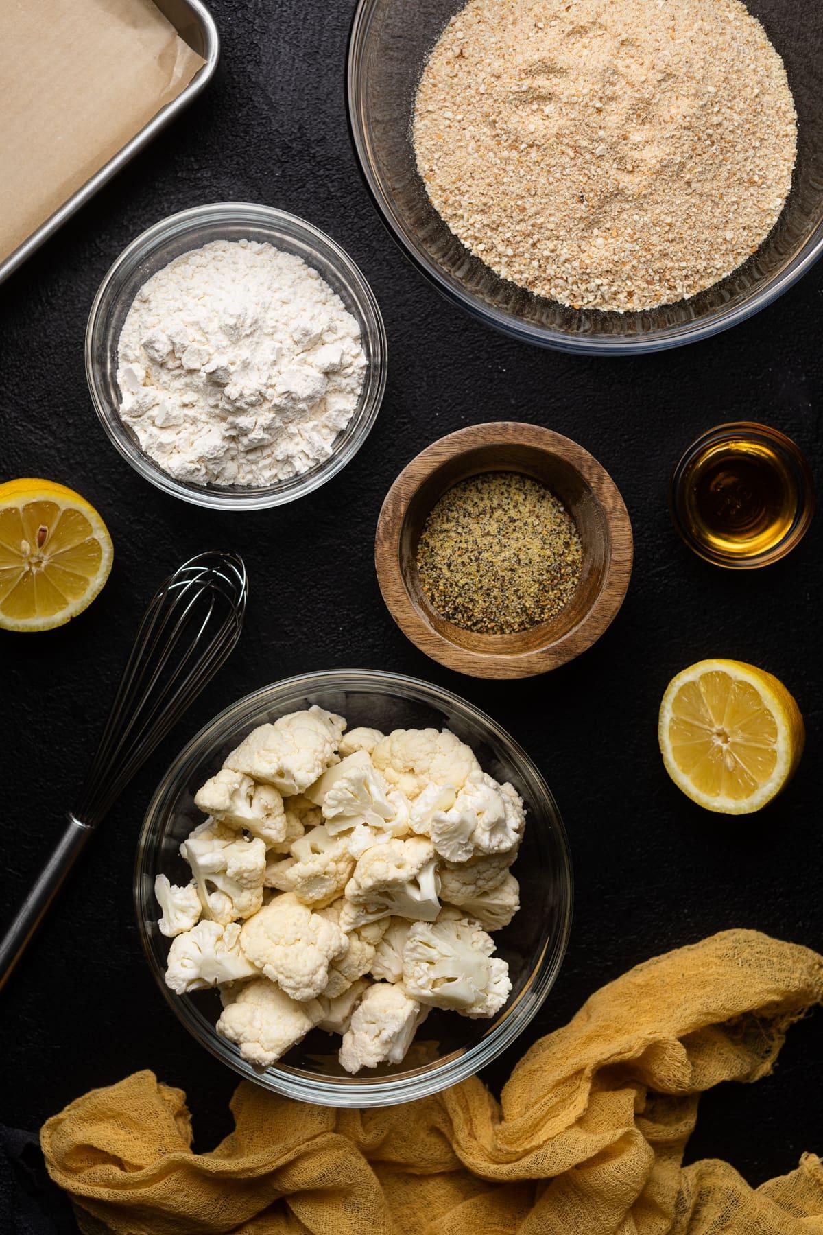 ingredients for Lemon Pepper Cauliflower Bites like cauliflower, flour, bread crumbs and lemon pepper seasoning