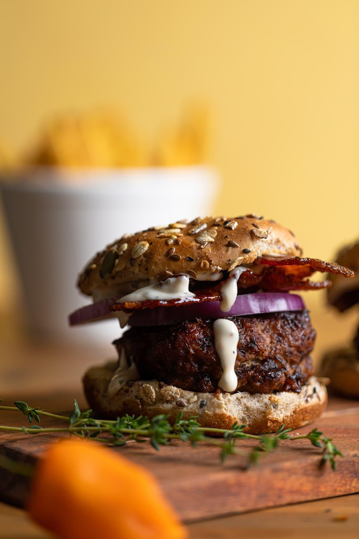 Dairy-Free BBQ Jerk Bacon Turkey Burger