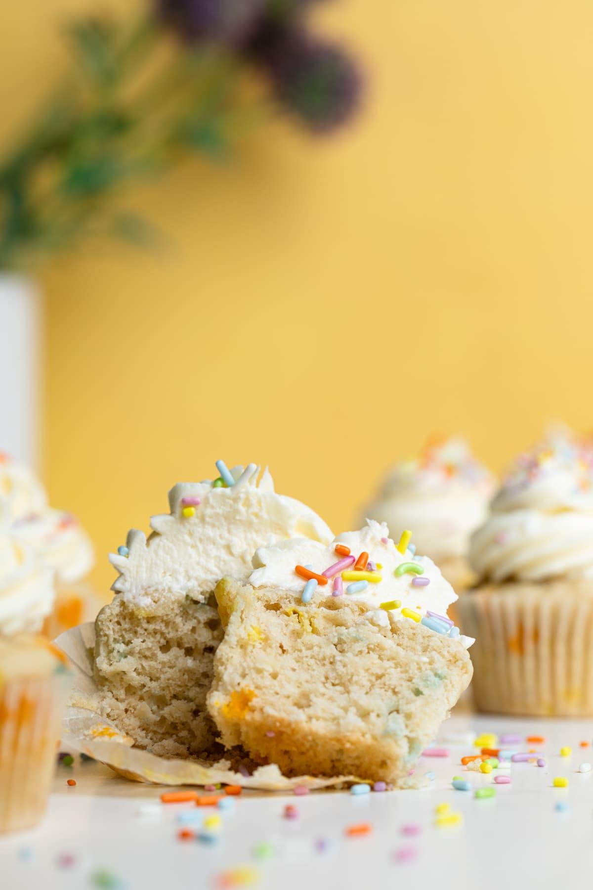 Vegan Funfetti Cupcakes (Super Fluffy!)