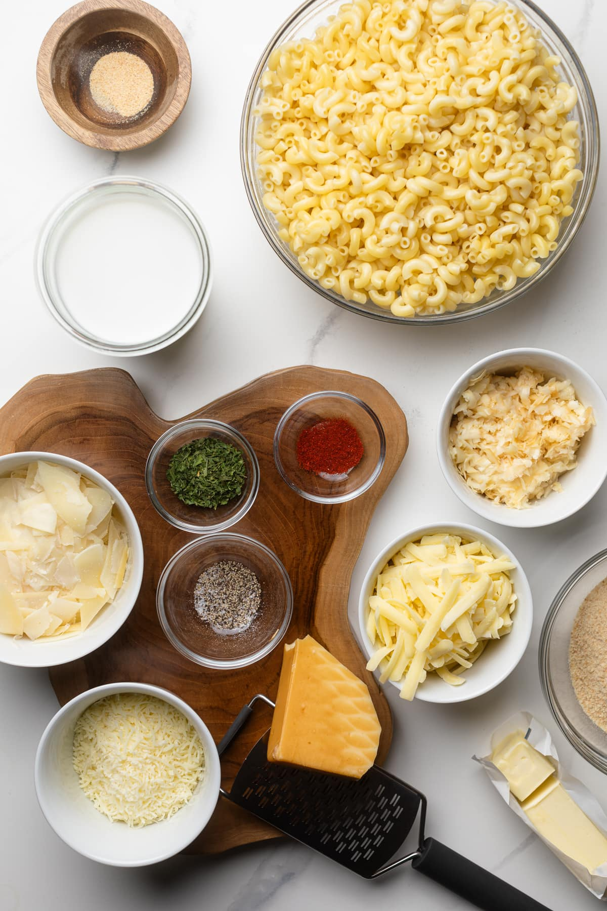 ingredients for Southern Baked Mac and Cheese with Breadcrumbs