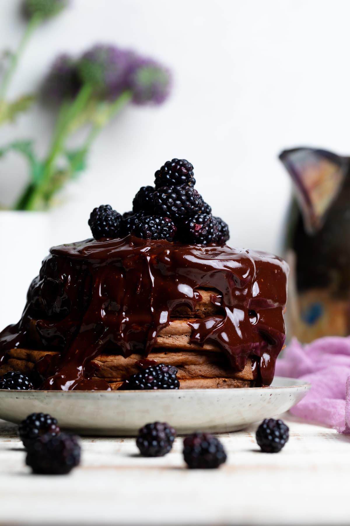 Vegan Chocolate Pancakes with Blackberries