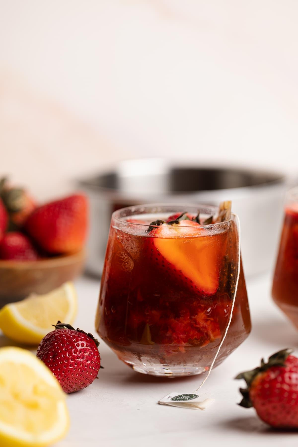 Roasted Dandelion Strawberry Drink