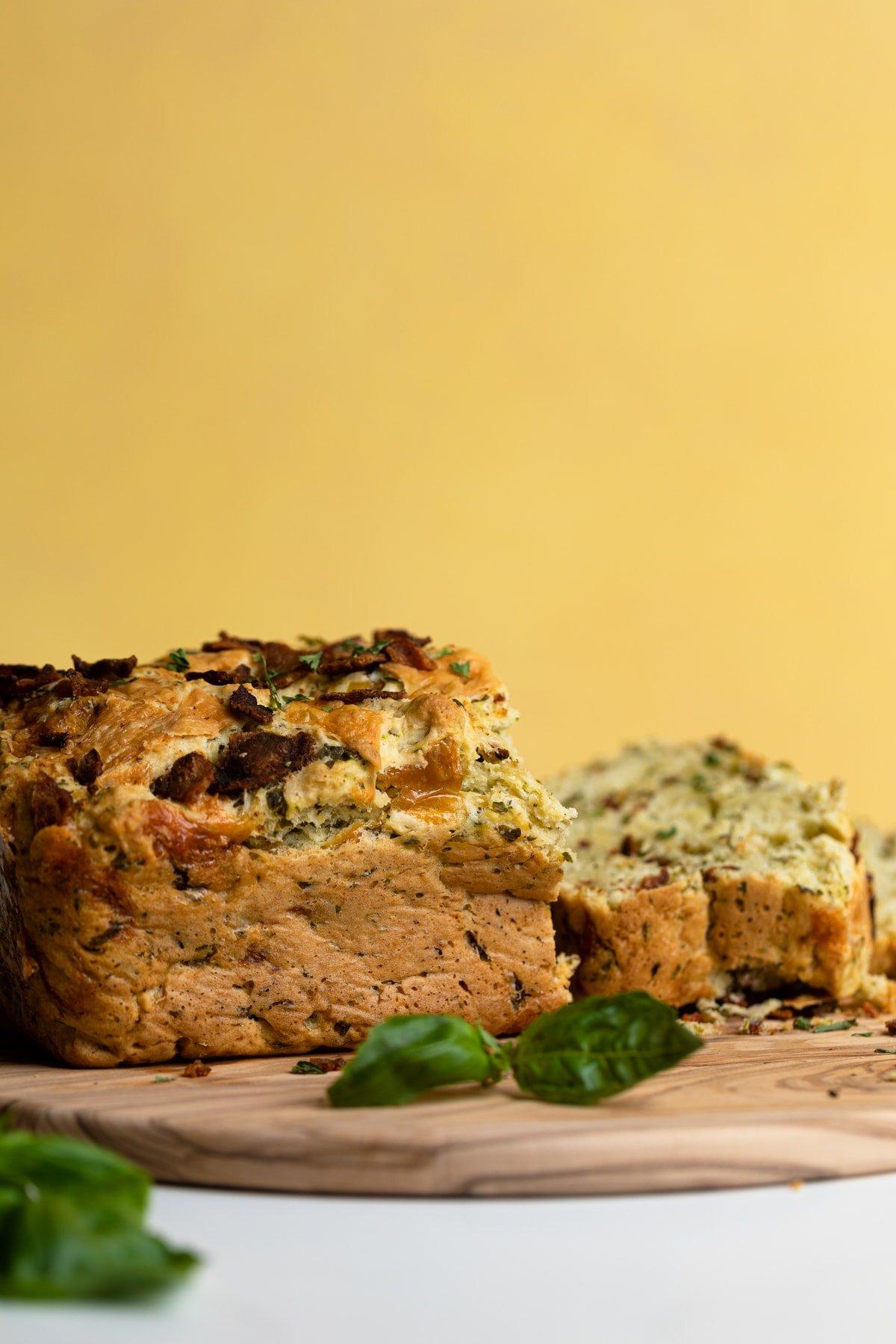 Loaded Cheddar Pesto Zucchini Bread with Bacon