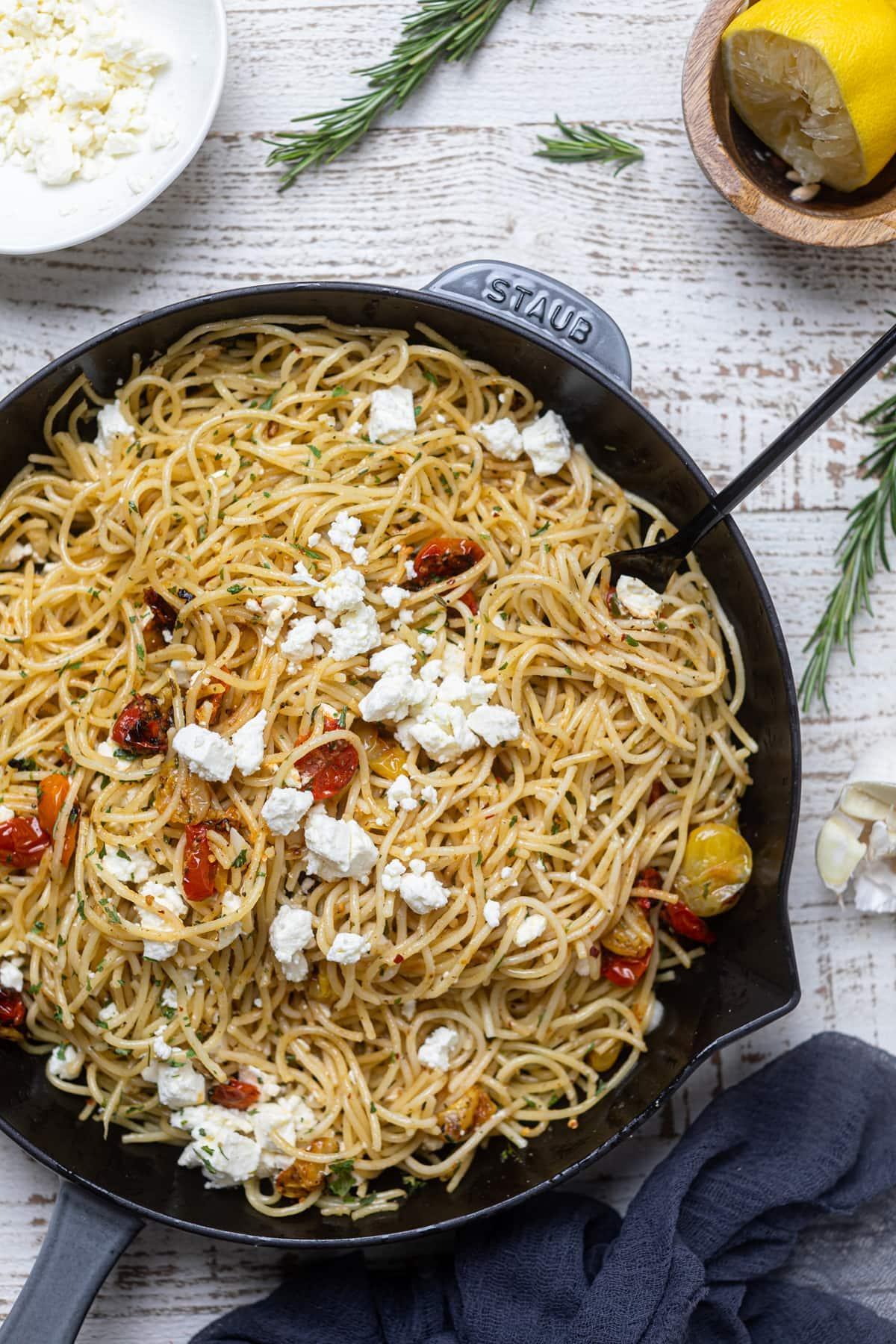 Lemon Brown Butter Spaghetti w/ Roasted Tomatoes + Feta