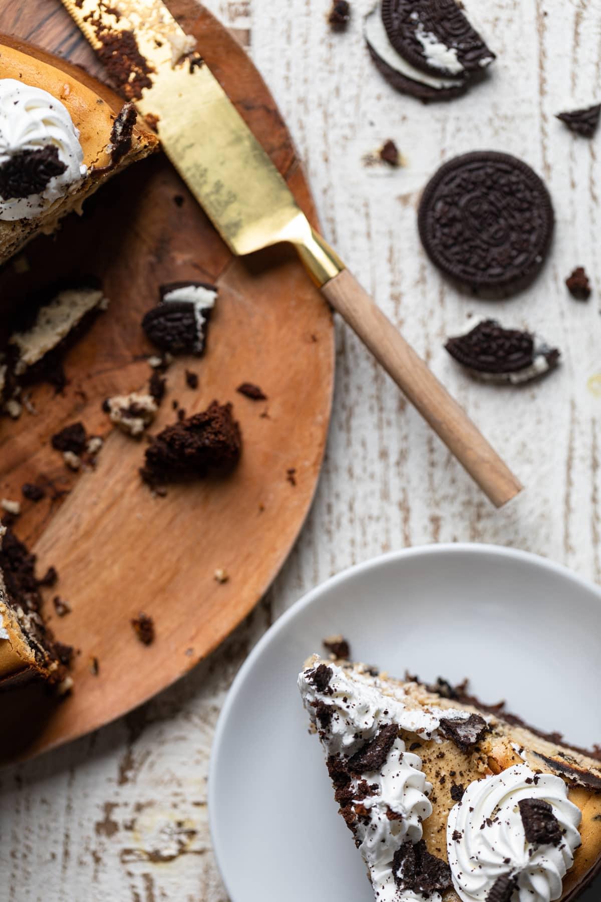 Gluten-Free Peanut Butter Cookies N' Cream Brownie Cheesecake