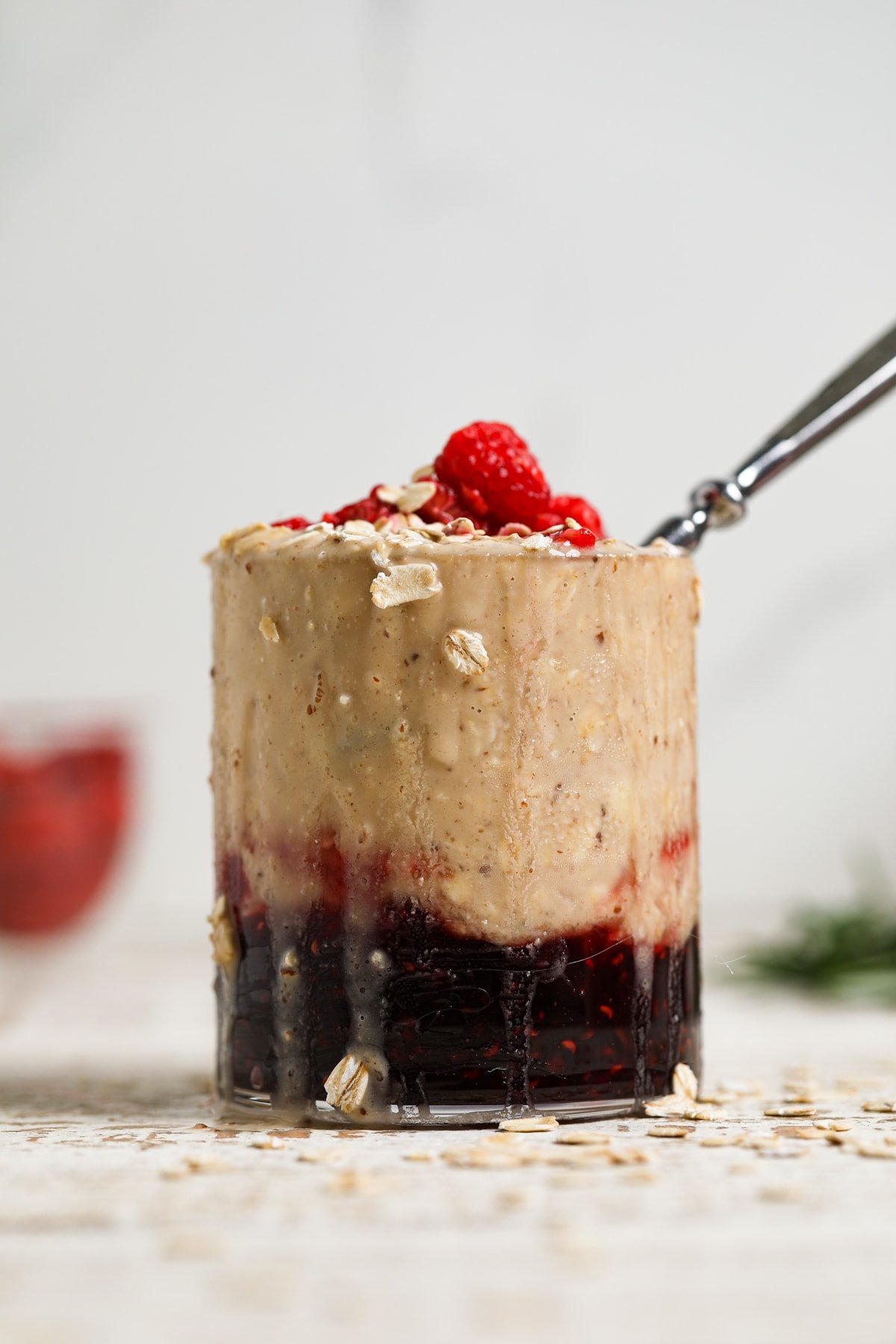 Protein Peanut Butter + Jelly Overnight Oats