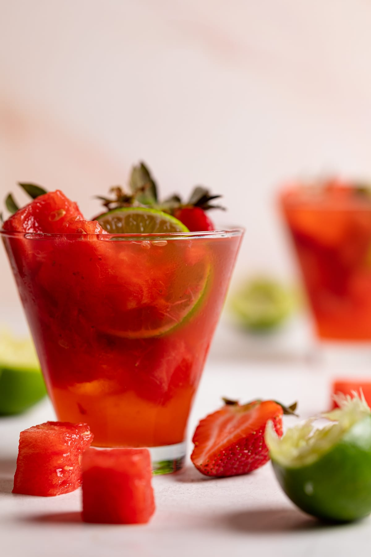 Watermelon Strawberry Lime Mocktail with fresh watermelon cubes and sliced berries