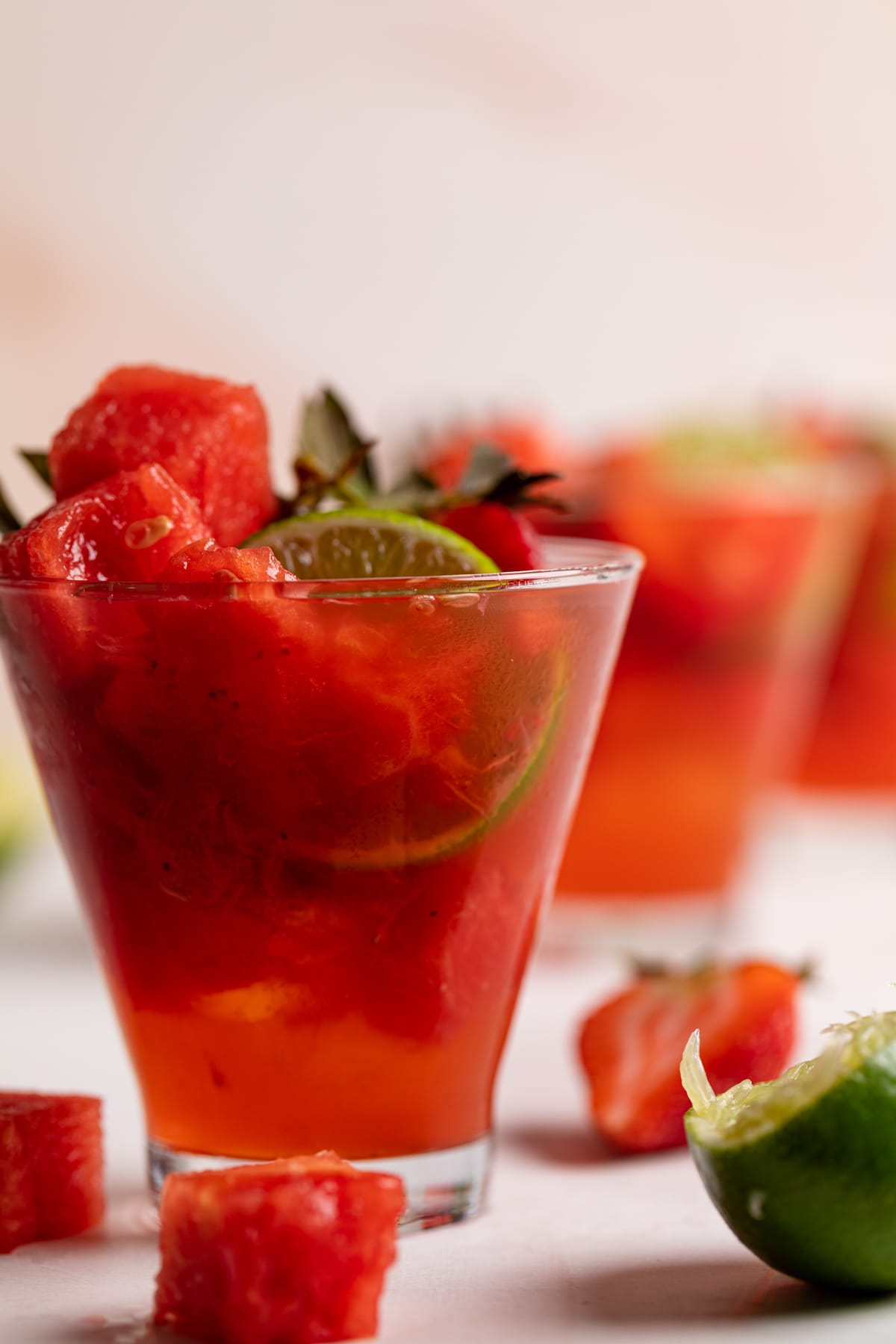 Watermelon Strawberry Lime Mocktail with fresh lime and watermelon cubes