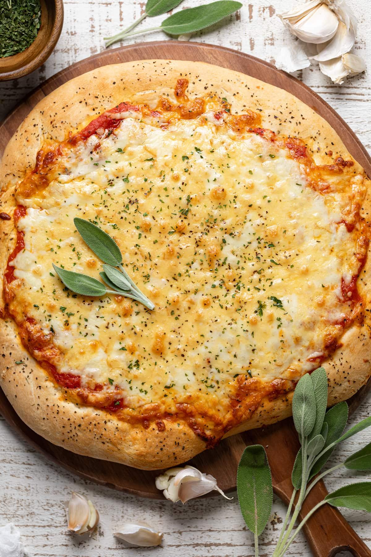 Homemade Garlic Herb Cheese Pizza
