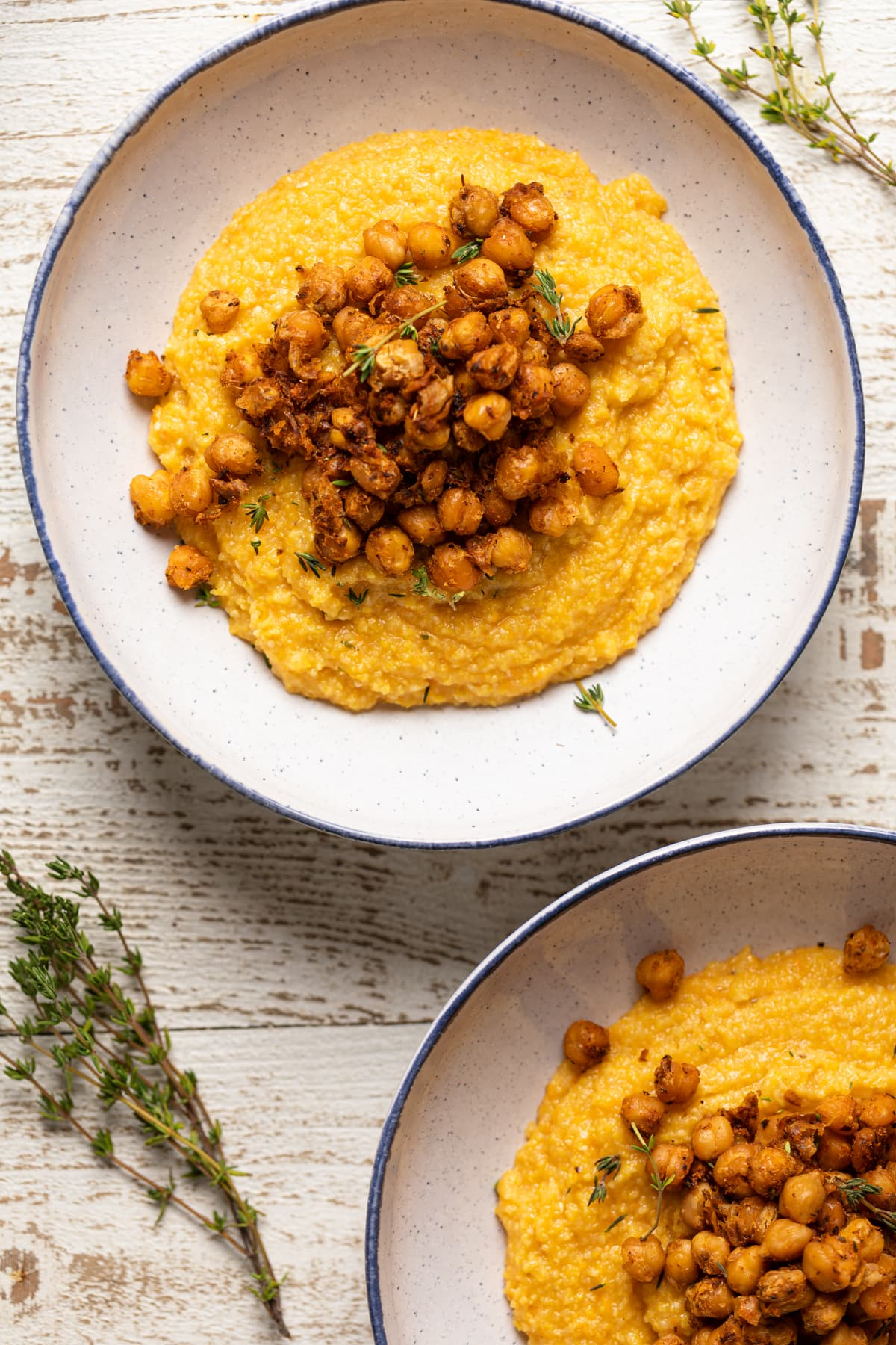 Cajun Sweet Potato Grits with Crispy Chickpeas
